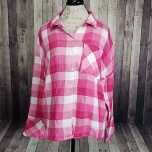 Sanctuary Easy BF shirt in pink & white checker